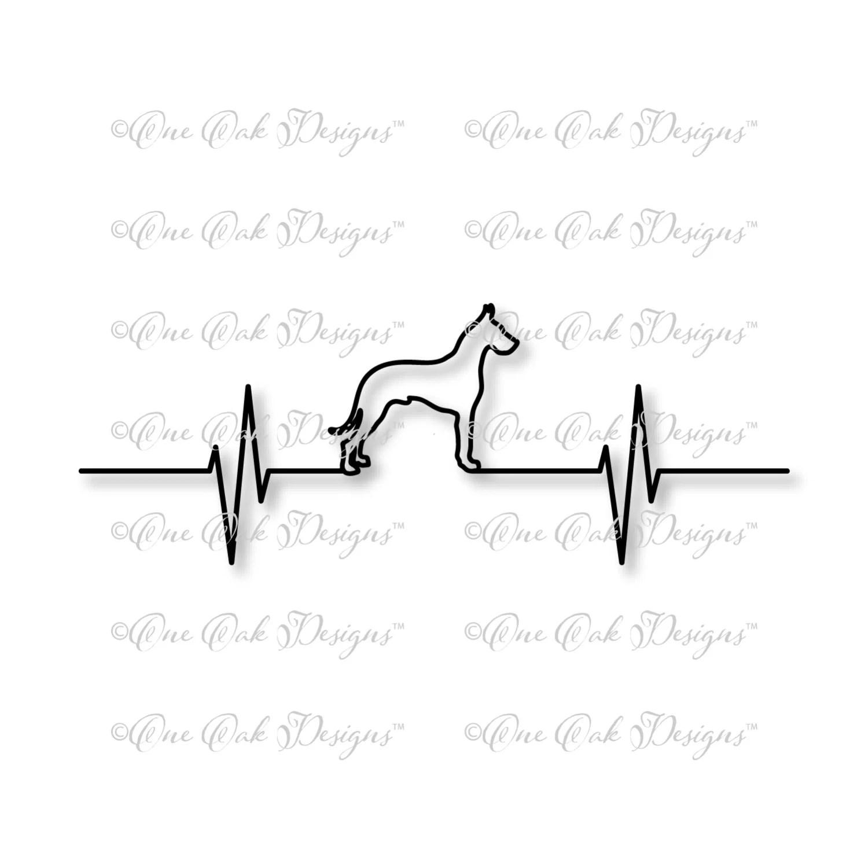 Great Dane Dog Ekg Heartbeat Svg File Dxf