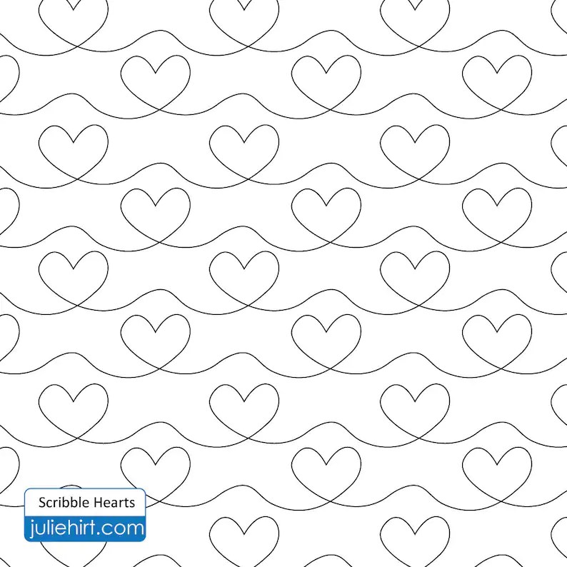 SCRIBBLE HEARTS Longarm Quilting Digital Pattern for Edge