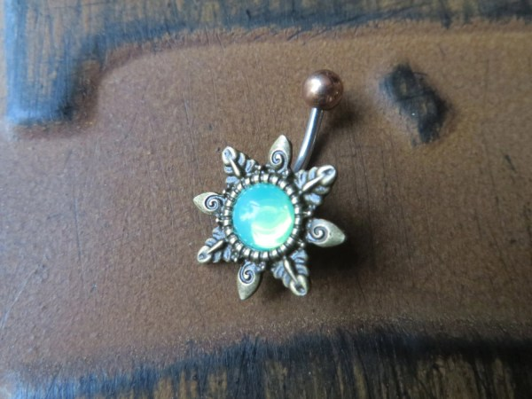 Belly Button Ring Jewelry Mint Green Opal