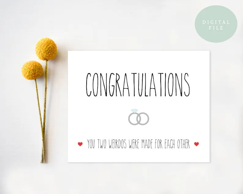 funny wedding card printable