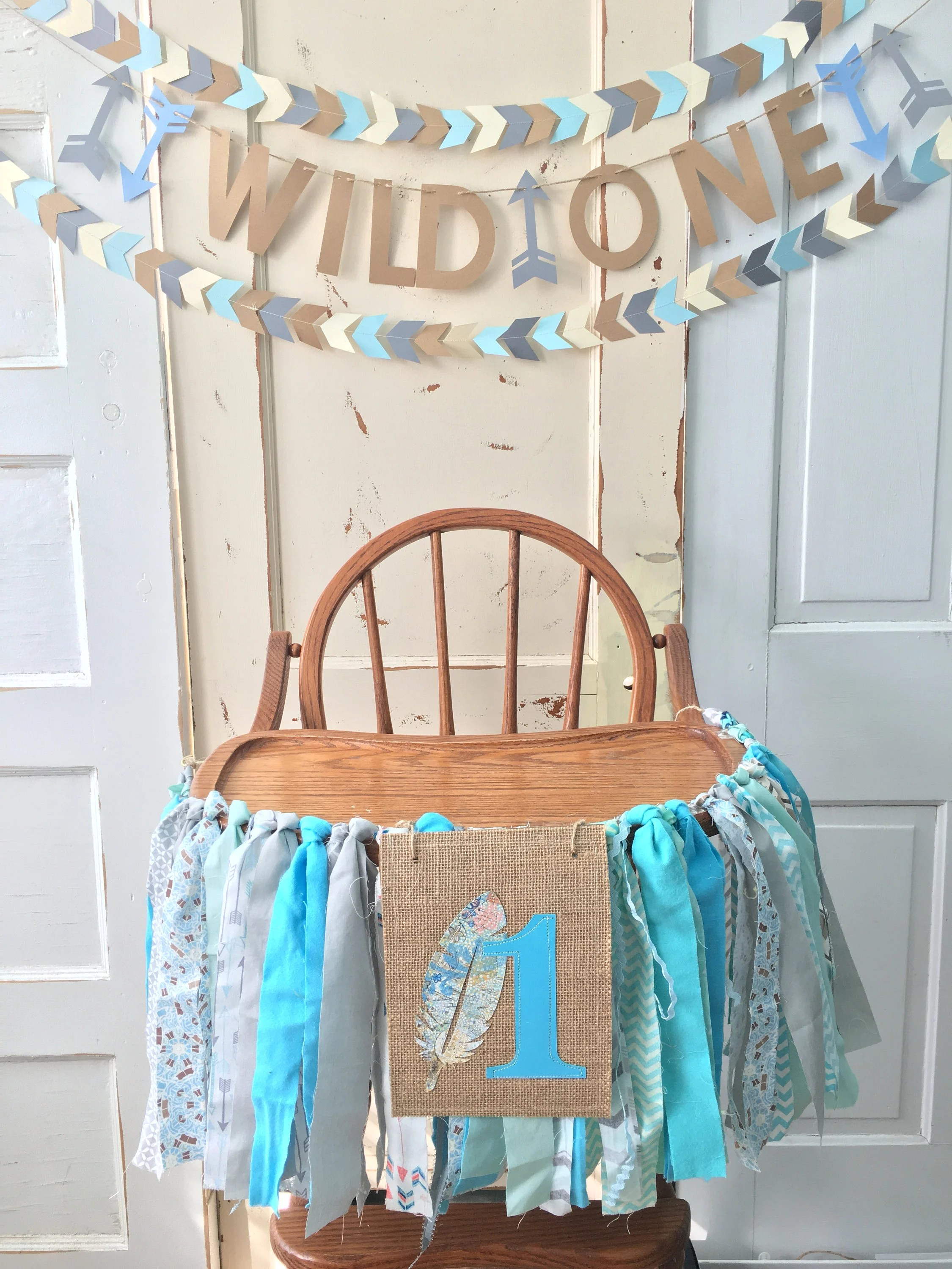 high chair decorations 1st birthday boy double seat folding lawn chairs boys banner custom first