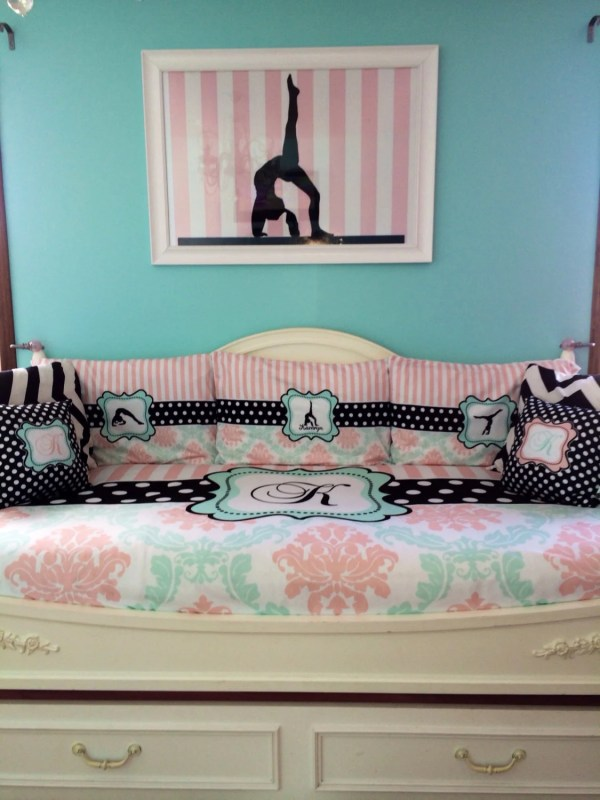 Daybed Twin Damask And Stripe Custom Bedding With 2 3