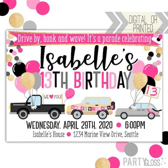 drive by birthday parade invitation digital invitation parade birthday drive by birthday party parade invitation pink gold