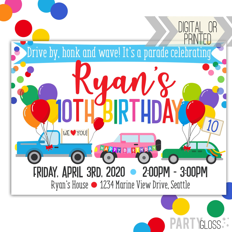 drive by birthday parade invitation digital invitation parade birthday drive by birthday party parade invitation