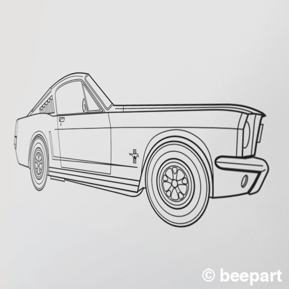 medium resolution of ford mustang wall decal 65 mustang fastback art pony car art auto blueprint art automobile design muscle car art car lover gift