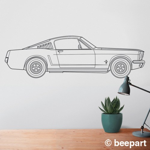 small resolution of ford mustang wall decal 65 mustang fastback art pony car art auto blueprint art automobile design muscle car art car lover gift