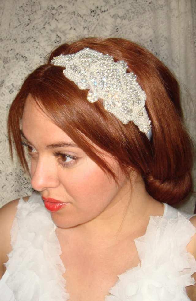 wedding headband, headband- london, rhinestone headband, wedding headpiece, bridal headband, bridal headpiece, accessories, tie on headband