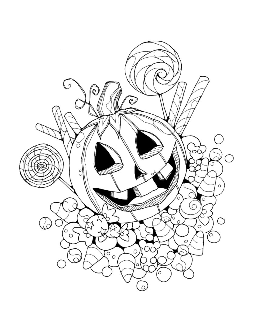 halloween trick or treat jackolantern coloring page