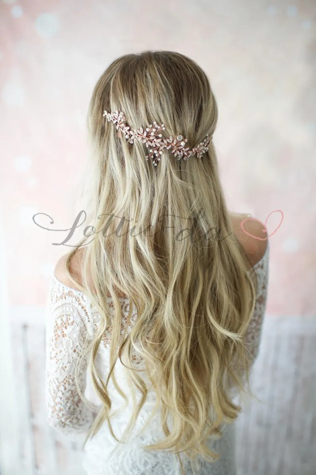 """boho wedding hair vine halo, beaded wire wedding headpiece in gold, antique gold, silver, antique silver, rose gold, """"lyra"""""""