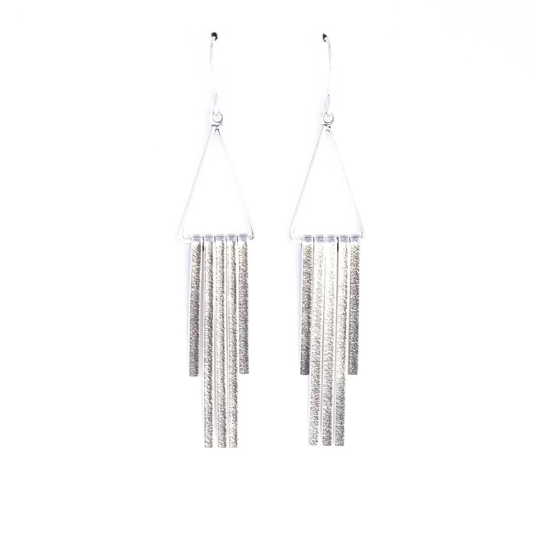Linea earrings sterling silver tassle fringe filled modern