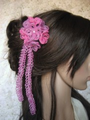 bali rose hair clip french beaded