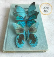 teal silk butterfly hair clips