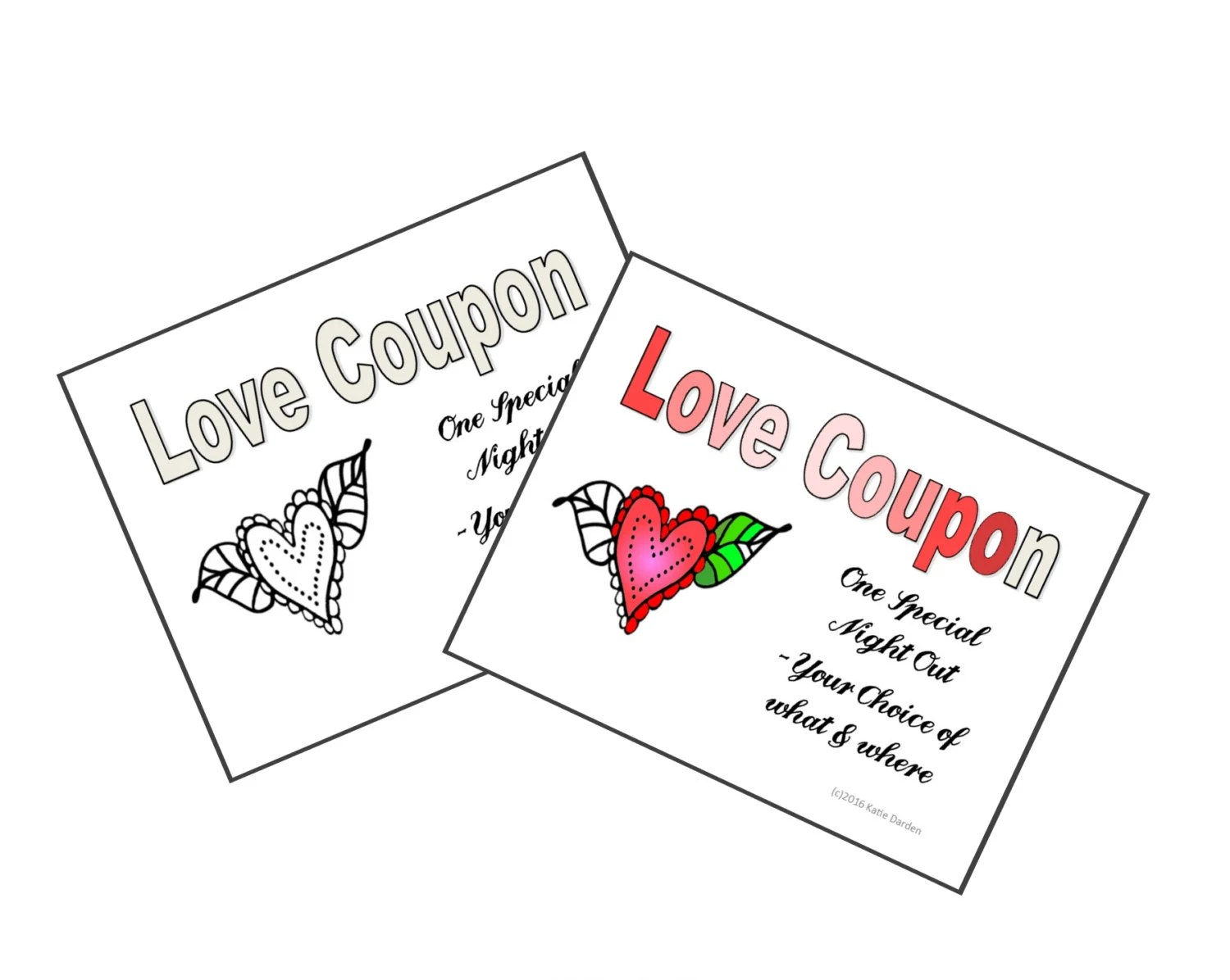 LOVE Coupons Print & Color Your Own Valentine or