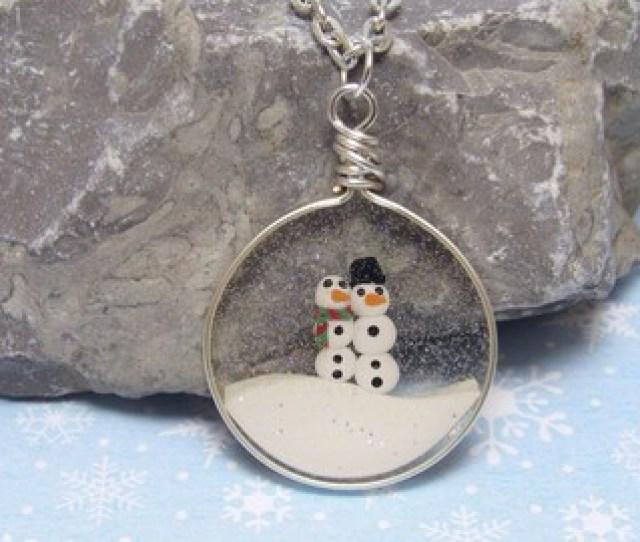 Quick View Faux Snowglobe Pendant Snowman Necklace