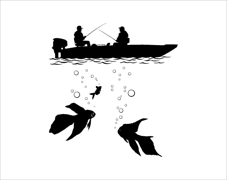 Fishing Fisherman Silhouette In The Boat Underwater Fish
