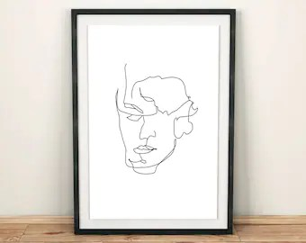 contour line drawing etsy