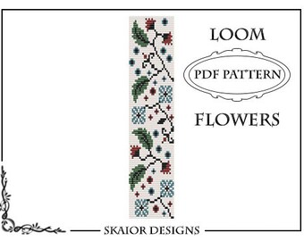 Two Tone Loom Bead Pattern Flower Square Stitch Loom Bracelet