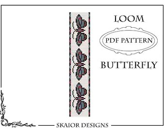 Two Tone Loom Bead Pattern Flower Square Stitch Loom Bracelet