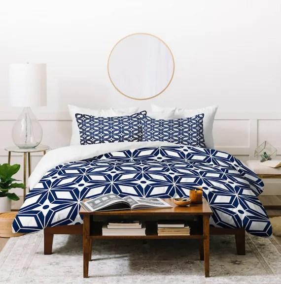 navy blue duvet cover twin queen king sizes home decor bedding starburst navy design midcentury modern bedroom blue