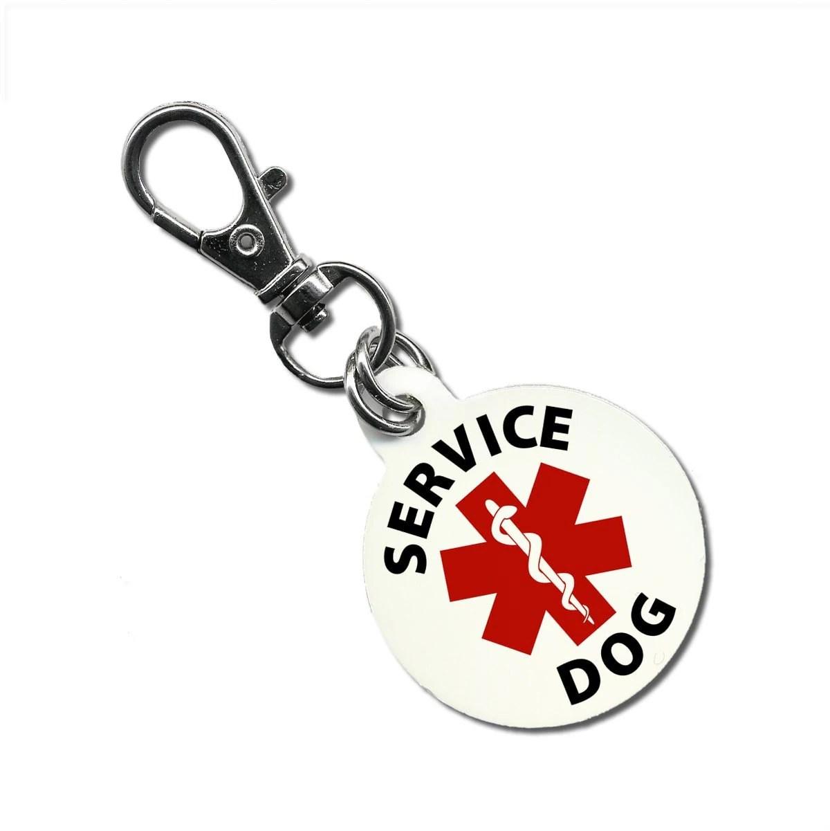 Service Dog Collar Tag Medical Alert Clip To Vest Harness