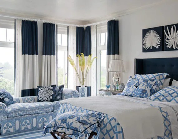 navy blue and ivory color block curtain panels colorblock choose colors rod pocket curtains flat panels