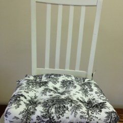 Black Chair Pads Sogno Massage Price Set Of 4 Tufted And White Toile Seat Etsy Image 0