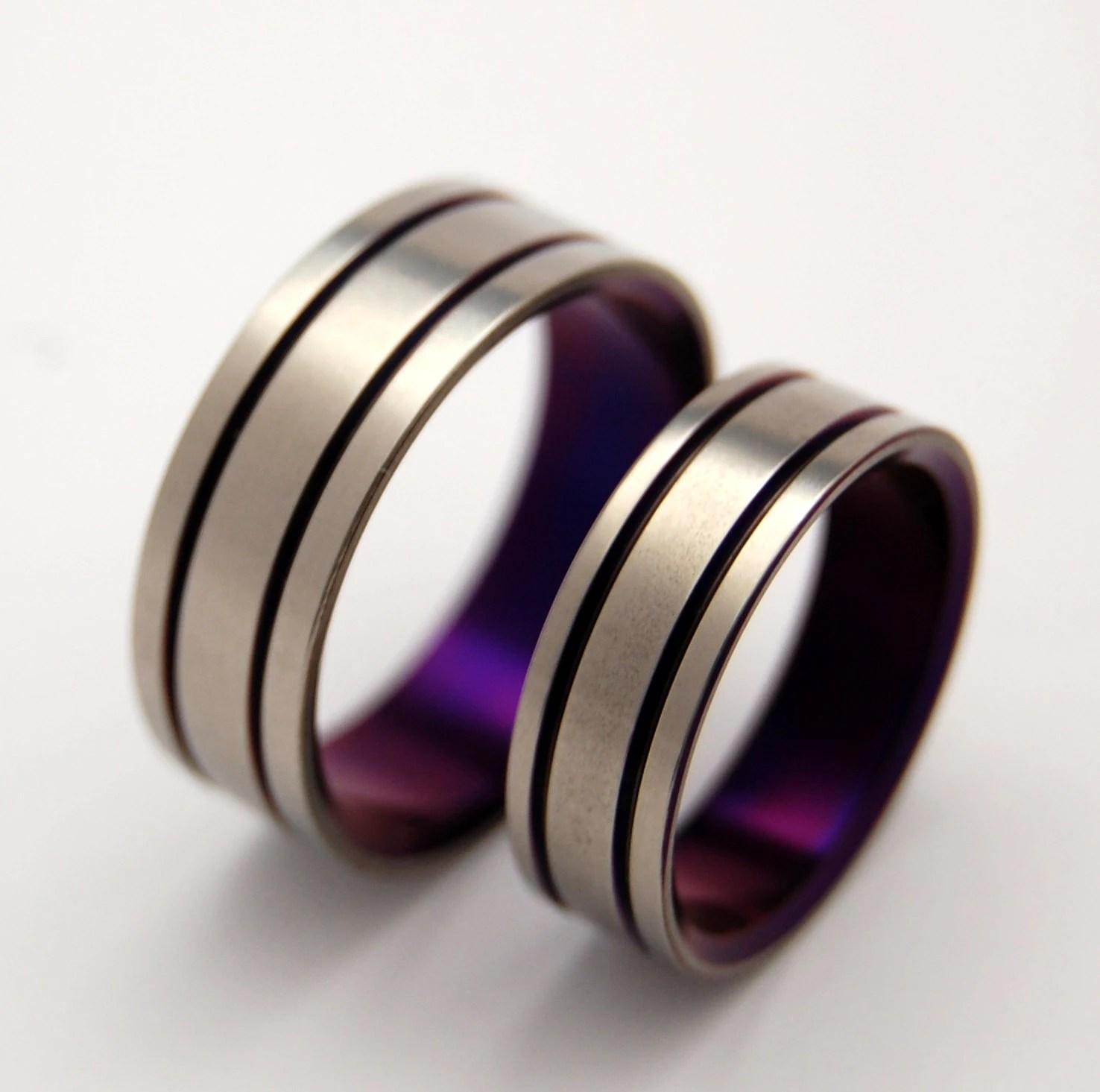 Titanium Wedding Band Set purple wedding ring mens ring