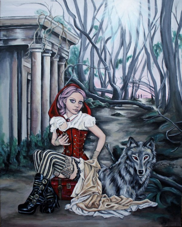 Steampunk Little Red Riding Hood And Wolf Fine Art