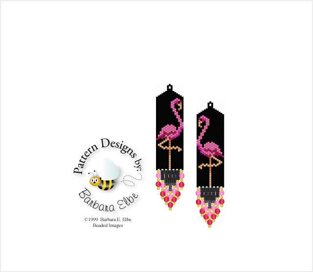 Pink Flamingo Beaded Earring Pattern Brick Stitch or Peyote