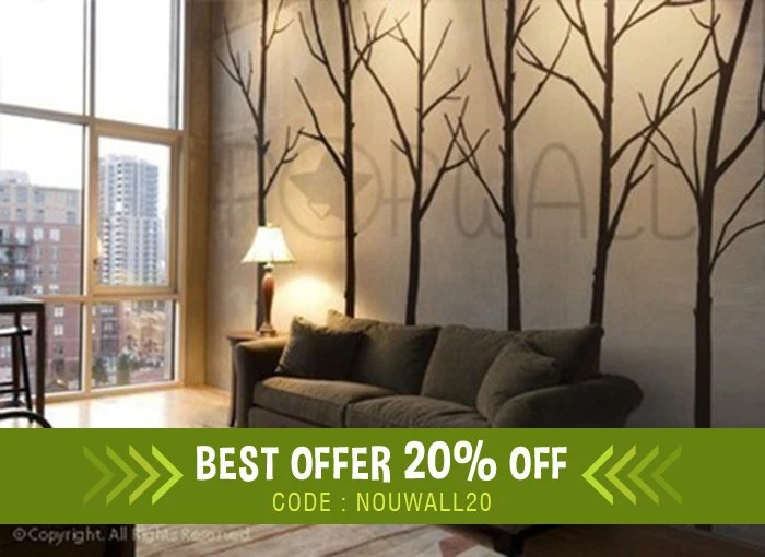 wall stickers living room interior design decal winter tree bedroom etsy image 0
