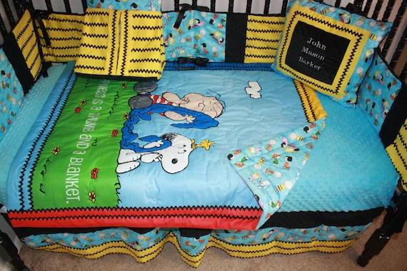 5pc Charlie Brown Crib Bedding Set by bedbugscreations