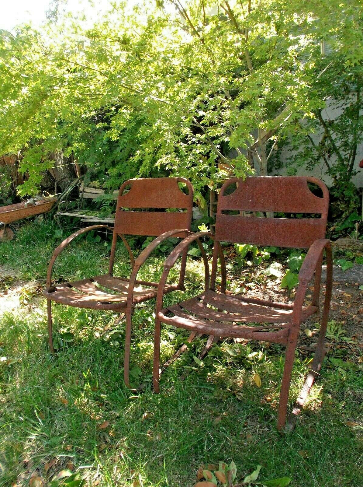 antique metal bouncer patio chairs 20th century rusted etsy