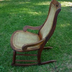 Rocking Chair Cane Modern Tan Leather Dining Chairs Antique Rocker Vintage Seat Etsy Image 0