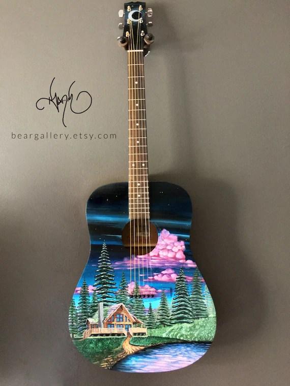 Custom Painted Acoustic Guitars : custom, painted, acoustic, guitars, Custom, Painted, Acoustic, Guitar, Forest, Cabin, Scenery