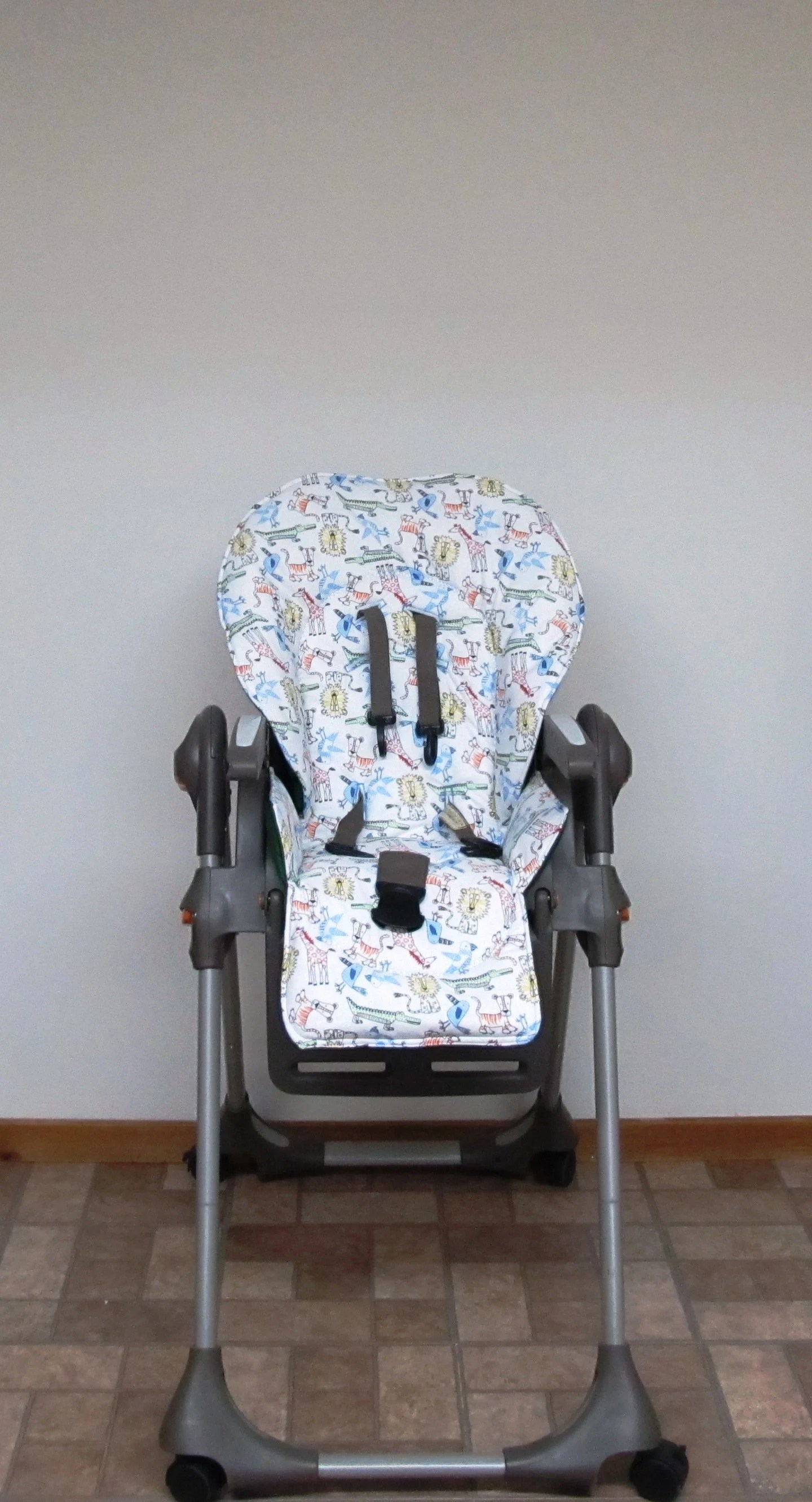 padded high chair fold up chairs tesco chicco polly replacement cover fun safari etsy kids furniture protector