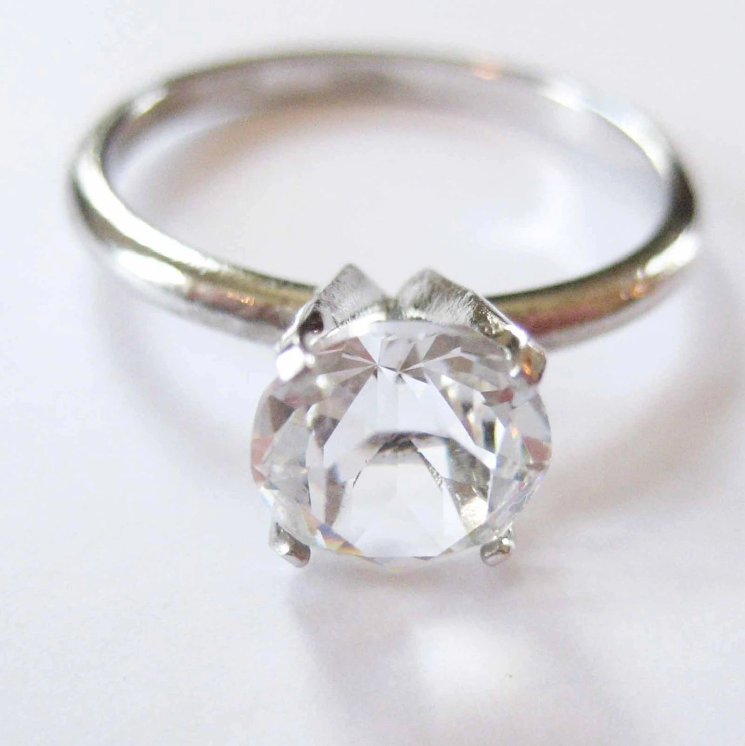 Uncas Solitaire Ring Clear Stone Size 7 7 mm Stone   Etsy