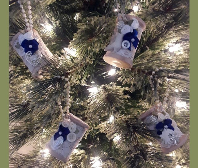 Vintage Victorian Wooden Spool Christmas Ornaments Cobalt Blue White Cream Button And Bow Accents