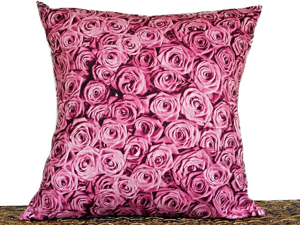 Pink Roses Pillow Cover Cushion Valentines Day Floral  Etsy