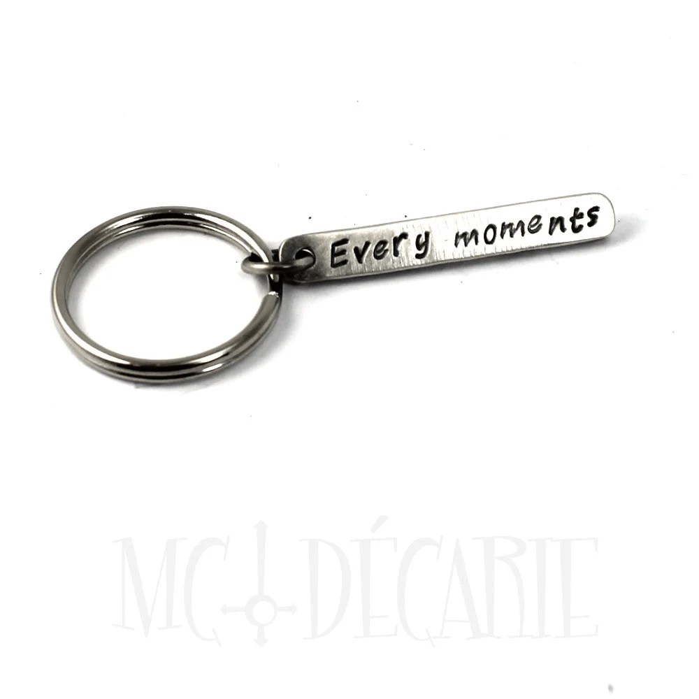 Personalized stick keychain, silver stick with text