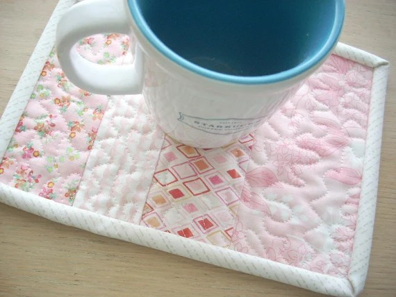 fresh cut in blush mug rug - FREE SHIPPING