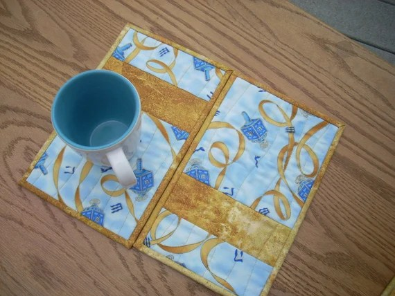 Blue and Gold Ribbon mug rugs - FREE SHIPPING