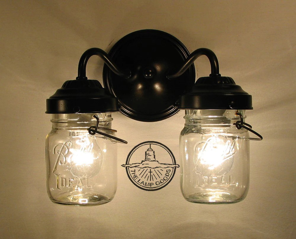 Mason Jar Bathroom Light Vintage Clear Canning Jar Double Sconce Light Wall Mount Mason Jar Bathroom Lighting Fixture Chandelier Track Fan Ceiling Farmhouse Goods