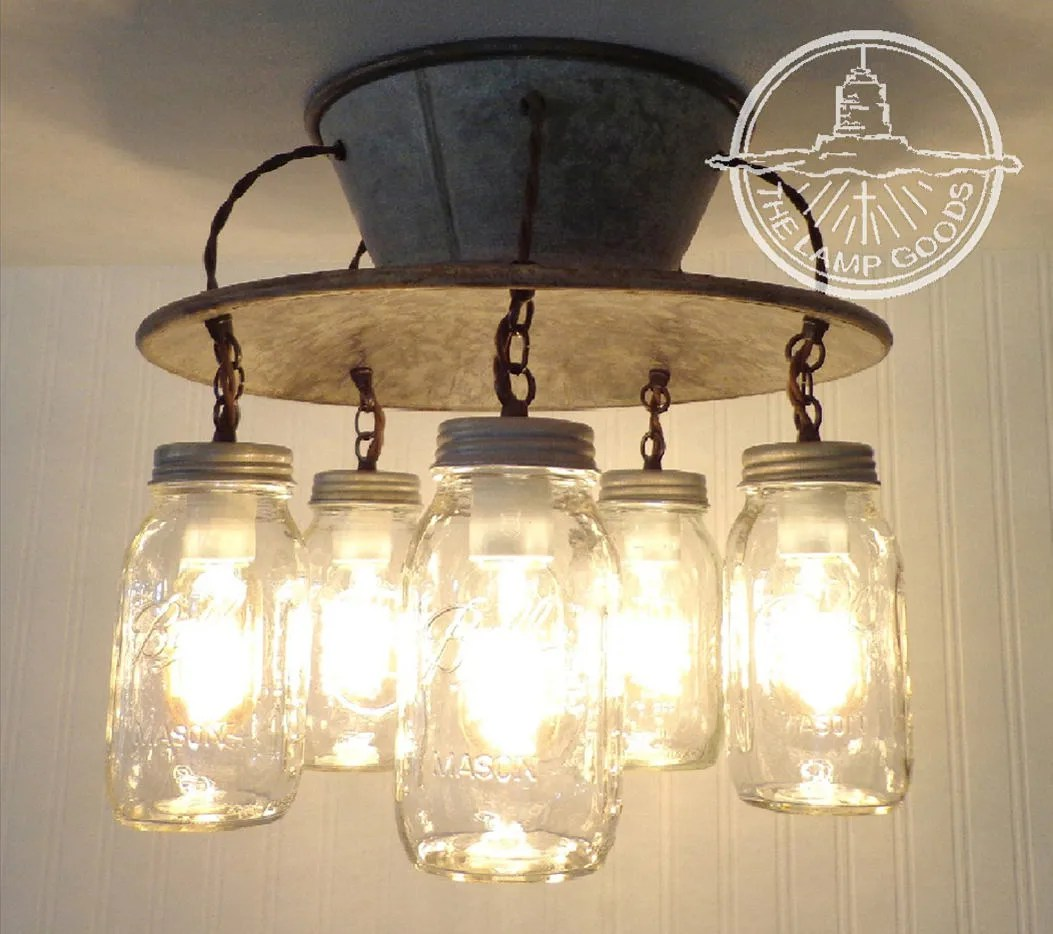 kitchen lamp sink faucets flush mount ceiling light goods exclusive mason jar etsy image 0