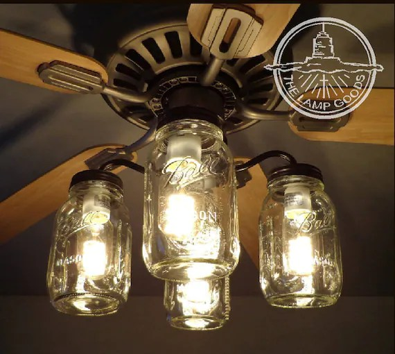 ceiling fan light kits chevy 350 wiring diagram to distributor mason jar kit only with new quarts rustic etsy image 0