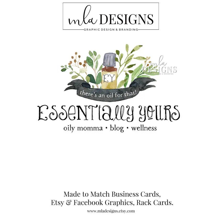 Essential Oils Logo Premade Watercolor Logo Soap Logo Bath