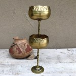 Pair Of Vintage Brass Chalice Candle Holders Made In Korea Modern Rustic Home Decor Midcentury