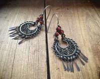 Vintage Chandelier Hoop Earrings Mexican Silver Filigree ...