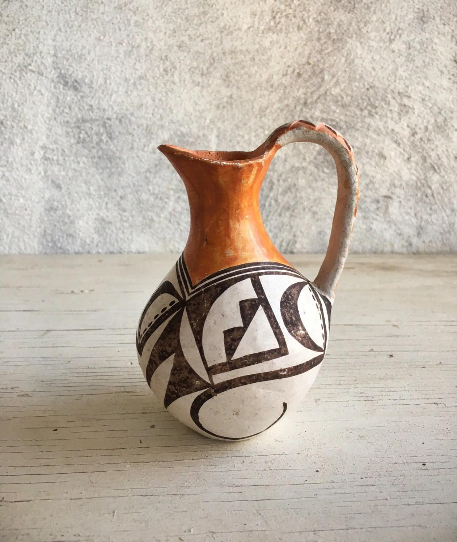 Vintage Small Polychrome Pottery Pitcher Native American