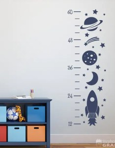 Image also rocket growth chart decal outer space decor wall etsy rh