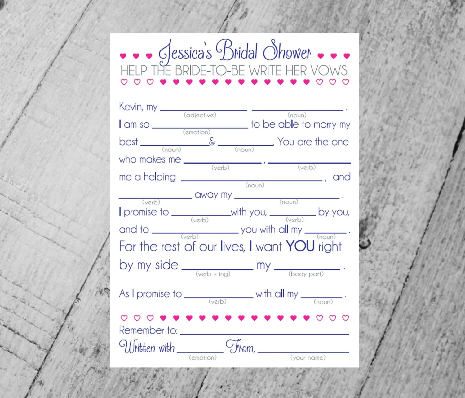 Bridal Shower Mad Libs DIY Printable. Style 3. Help the